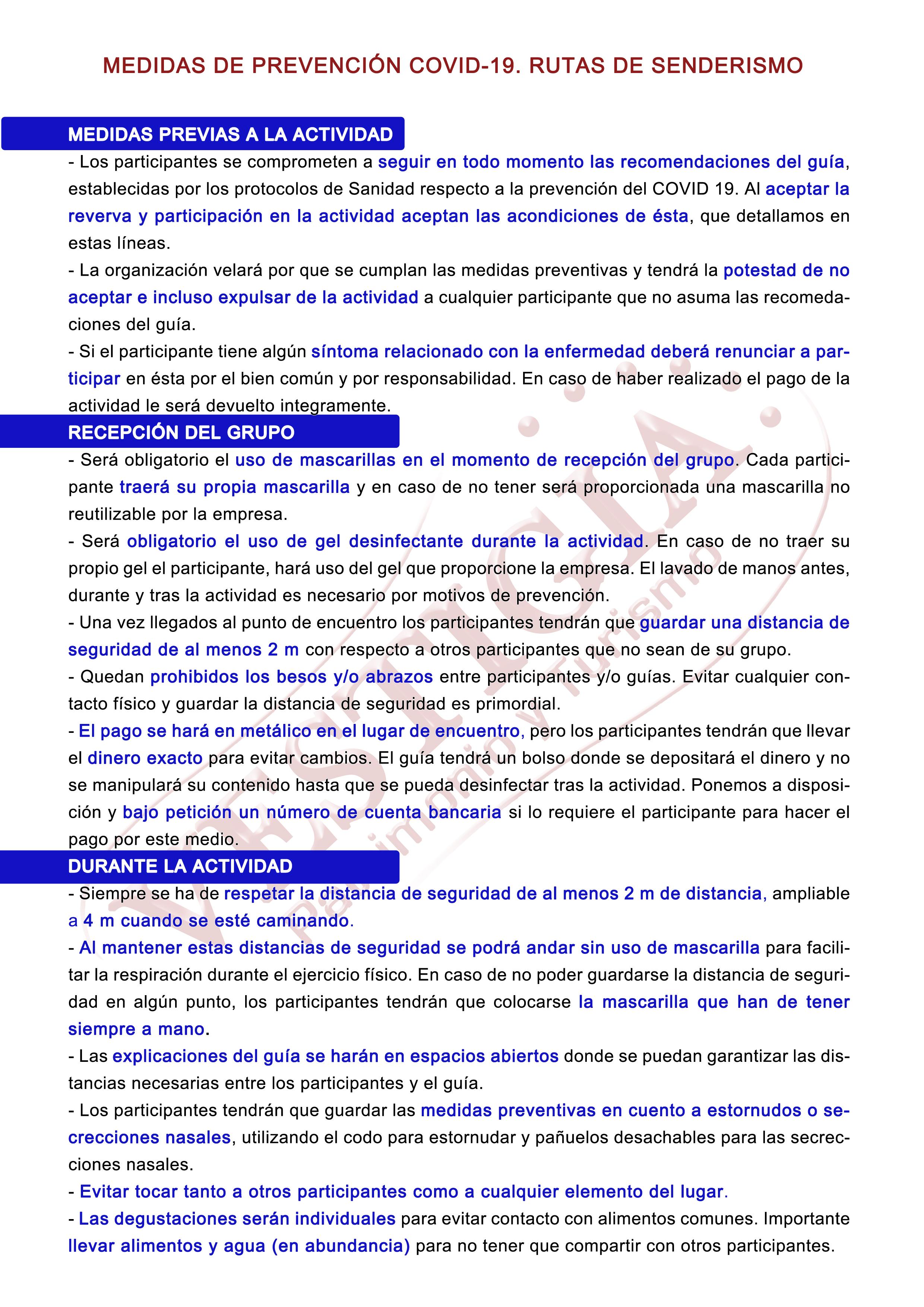 MEDIDAS PREVENTIVAS COVID 19 RUTAS SENDERISMO VESTIGIA